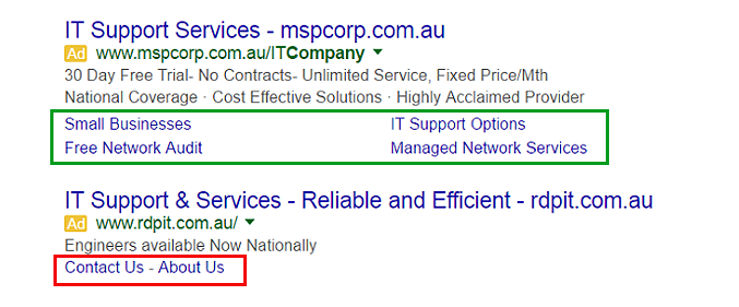 Example of Google's new PPC ad extensions format