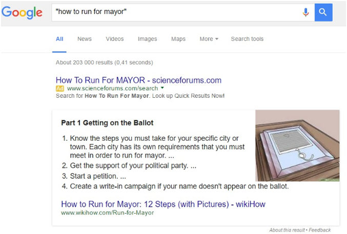 "Screenshot of ""how to run for mayor"" search and results"
