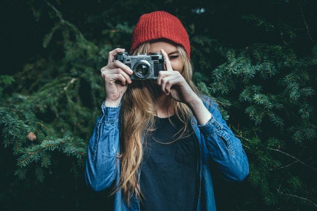 Woman making a video