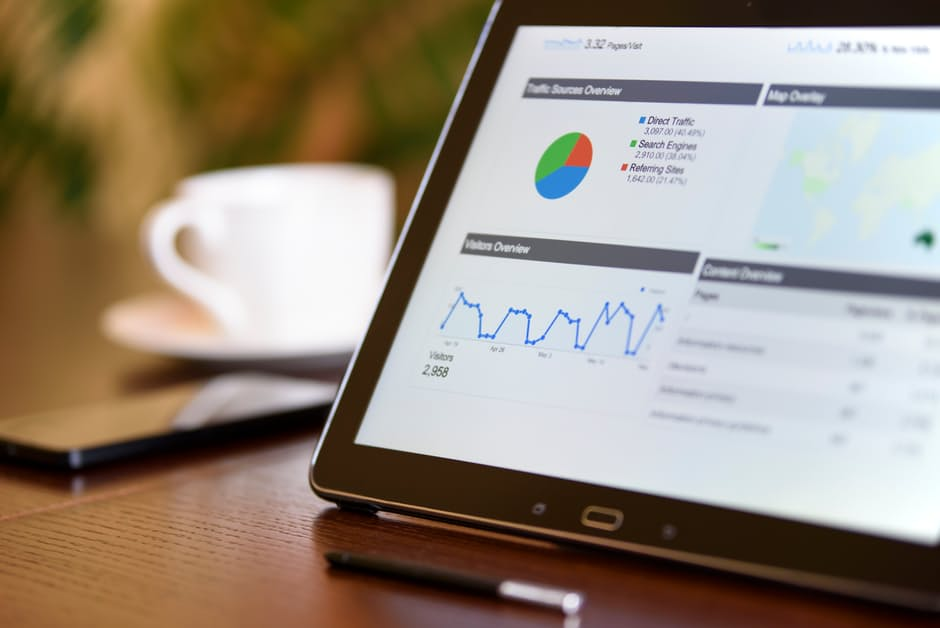 tablet displaying digital marketing analytics
