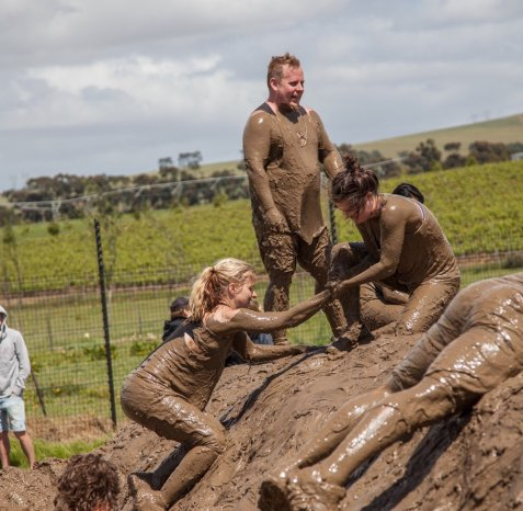 Obstacle course in mud