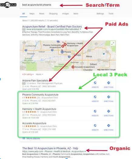 Image of Google's local pack