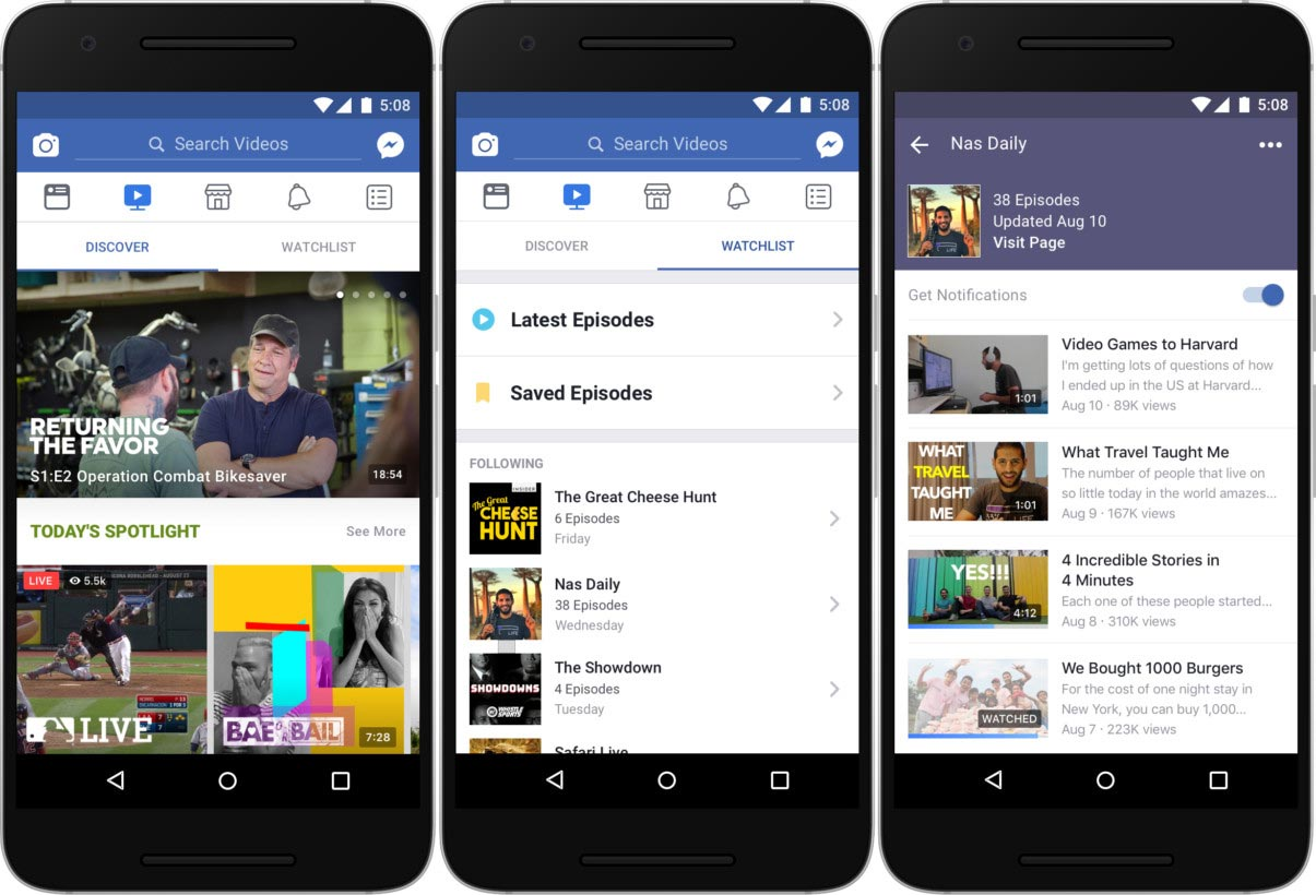 Facebook Watch on mobile