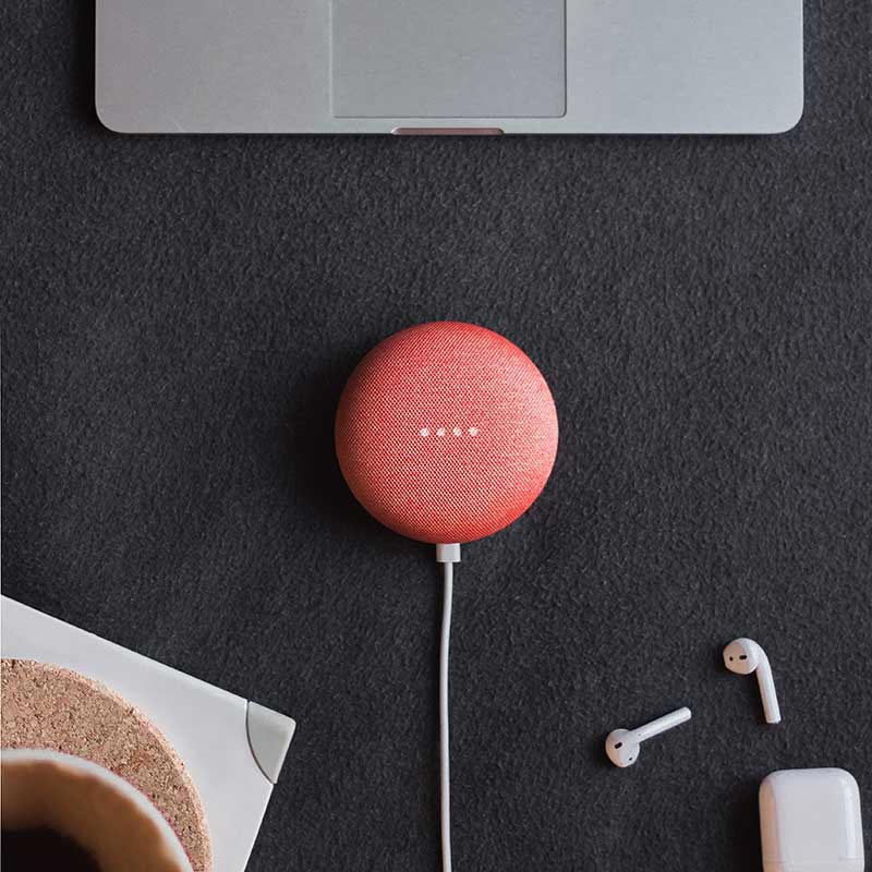 red-Google-Home-device