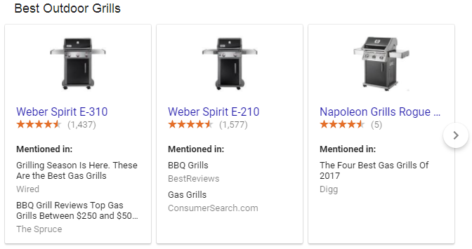 Google new best product carousel