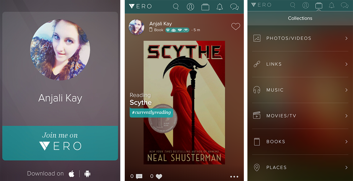 Screenshots of new social app Vero