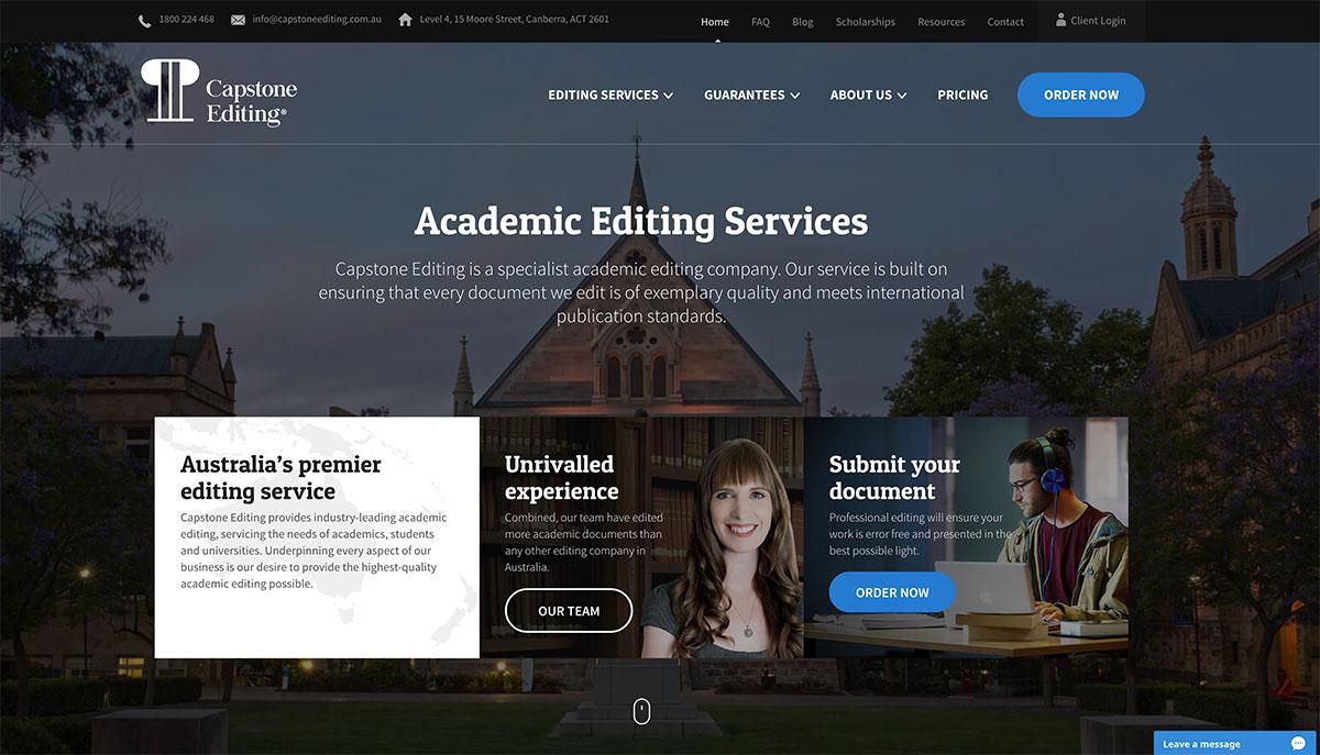 capstone editing homepage screenshot