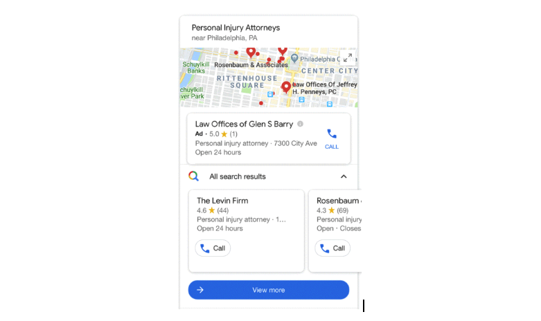 Google Local pack screenshot